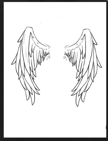 376x492 Small Black Outline Angel Wings Tattoo Design