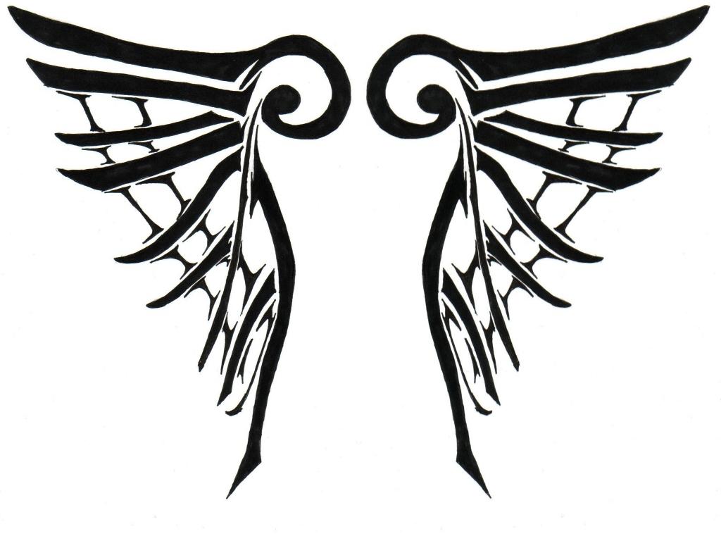 1024x768 Tribal Angel Wings By Pink Kitsune