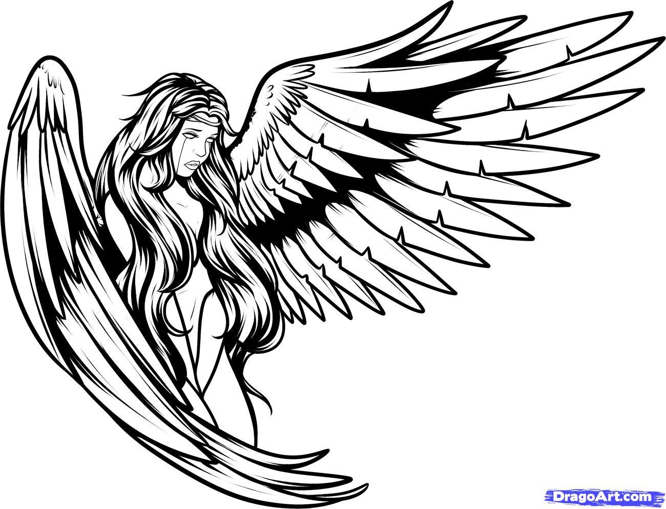 1300x994 Wings Drawing Tattoo