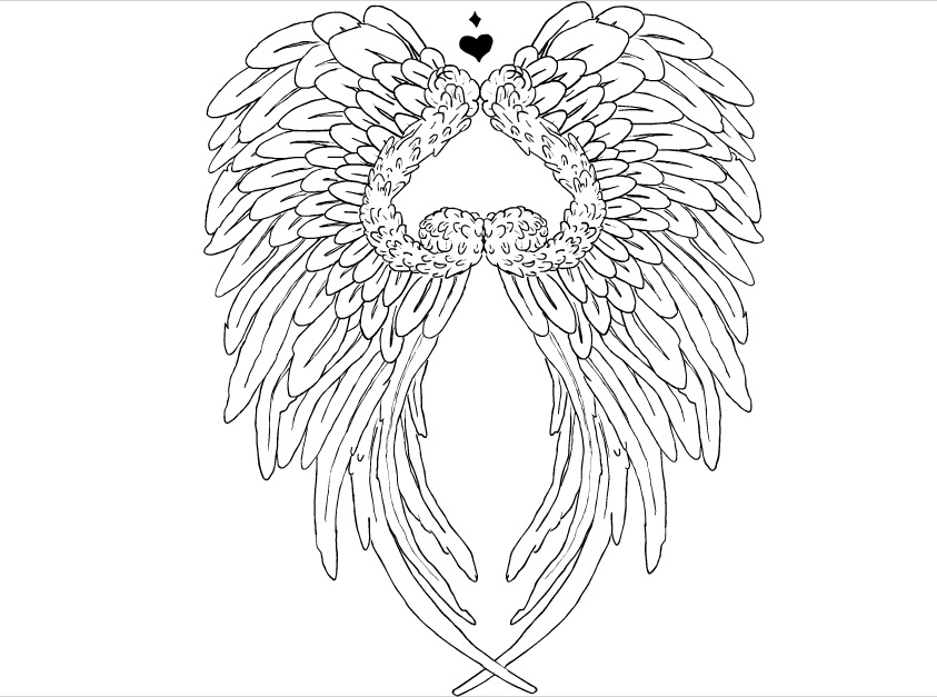 Angel Wings Drawing Outline