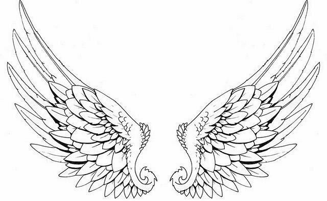 640x395 Black Outline Angel Wings Tattoo Stencil