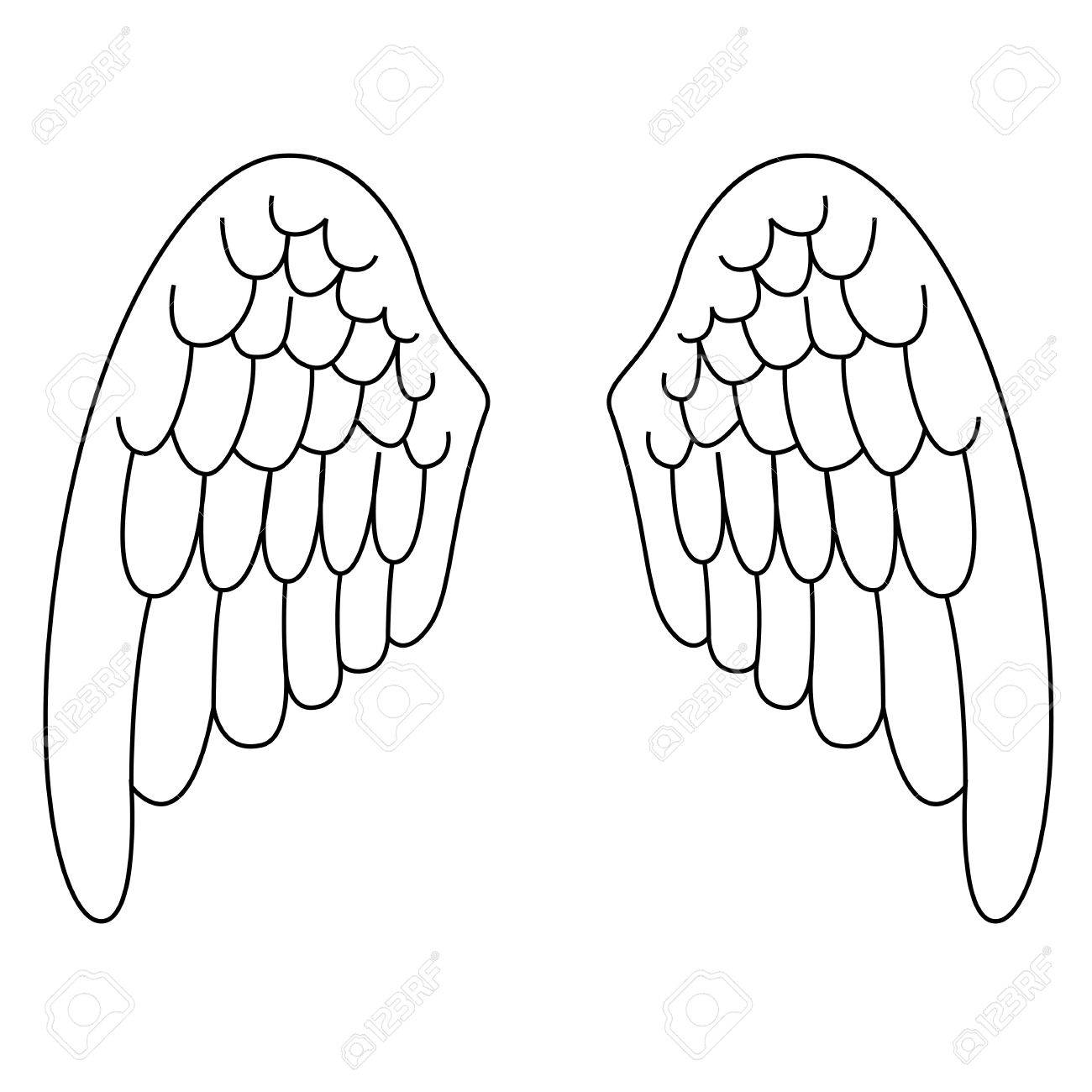 1300x1300 Black Outline Vector Angel Wings On White Background. Royalty Free