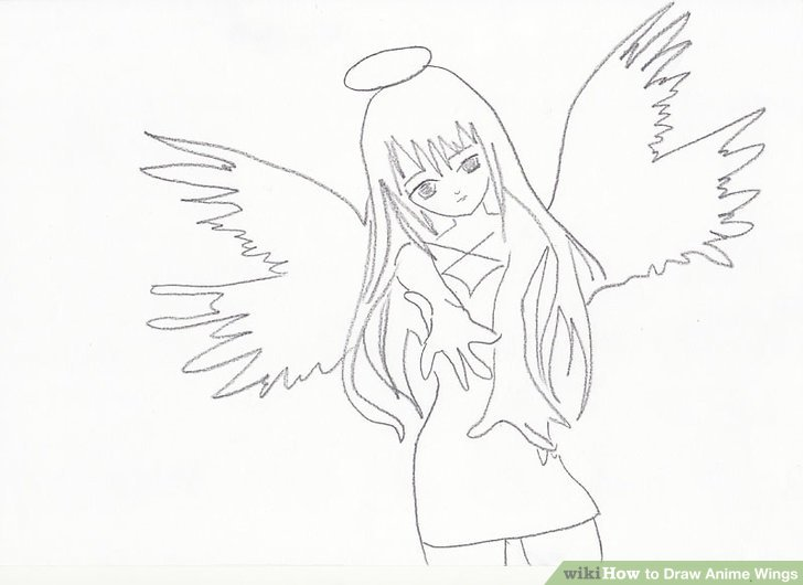 728x530 How To Draw Anime Wings 10 Steps (With Pictures)