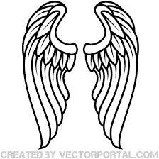 224x224 Christian Symbol Black Line Art For Kids Angel Wings Clip Art