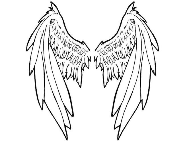 650x500 Angel Outline Tattoo Elaxsir