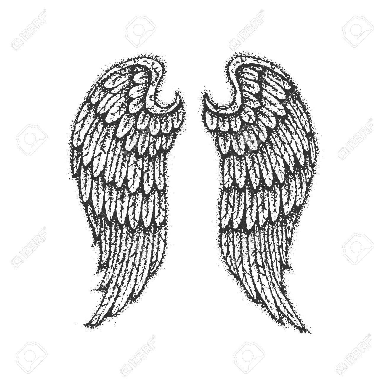 1300x1300 Dotwork Angel Wings Royalty Free Cliparts, Vectors, And Stock