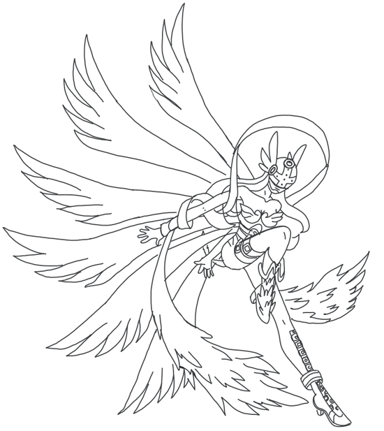 550x617 How To Draw Angewomon From Digimon With Step By Step Drawing