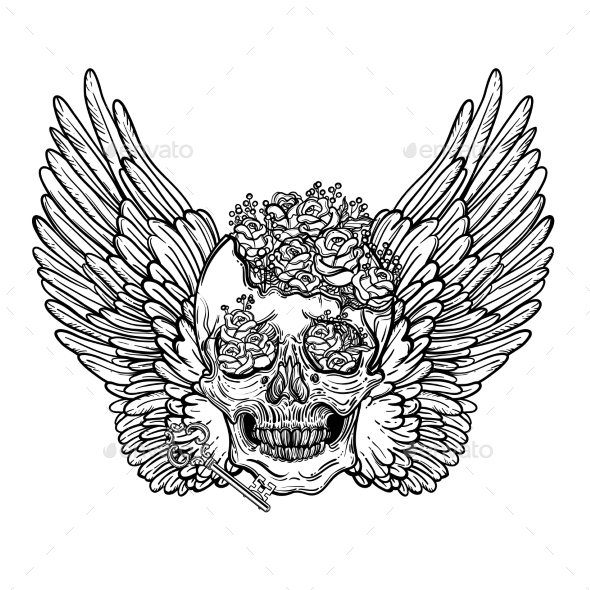 590x590 Line Art Illustration Of Angel Wings And Skull By Vavavka