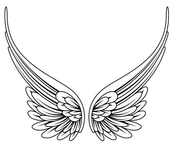 Angel Wings Line Drawing