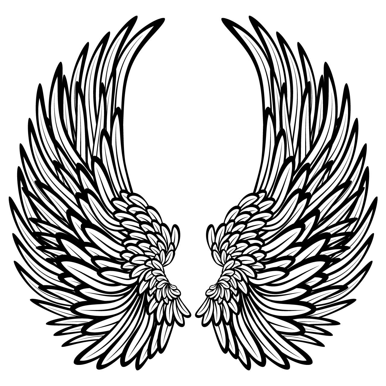 1280x1280 Angel Wings Line Drawing Angel Wings Template Largeangelwings