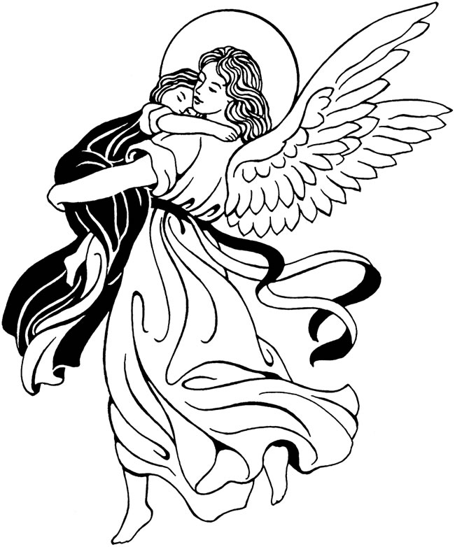 650x782 Drawings Of Angels Praying Angel Line Drawing Free Download Clip