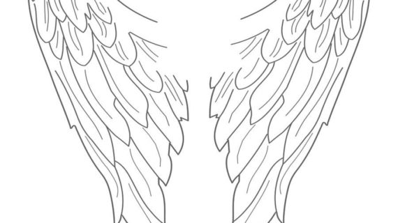570x320 Drawn Angel Wings Line Drawing Of Angel Stock Vector Illustration