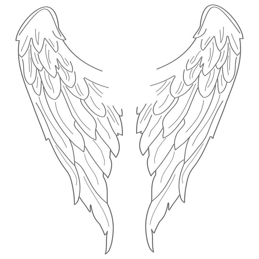 1024x1024 Easy Angel Wings Drawing