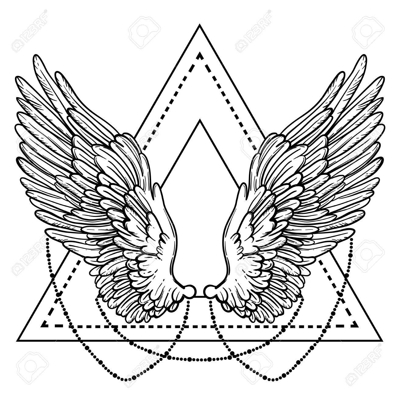 1300x1300 Line Art Illustration Of Angel Wings. Hand Drawn Vector Card