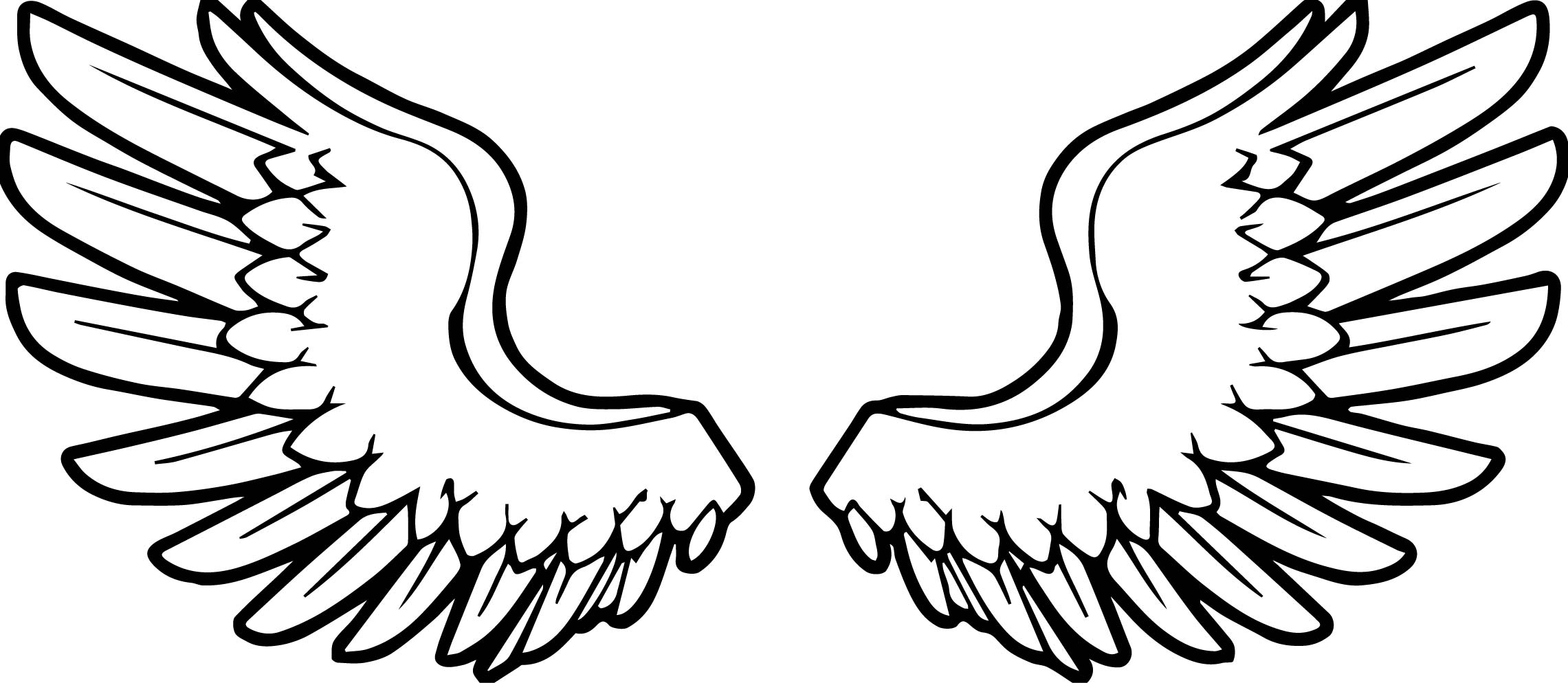 2281x994 Angel Wings Angel Coloring Page Wecoloringpage