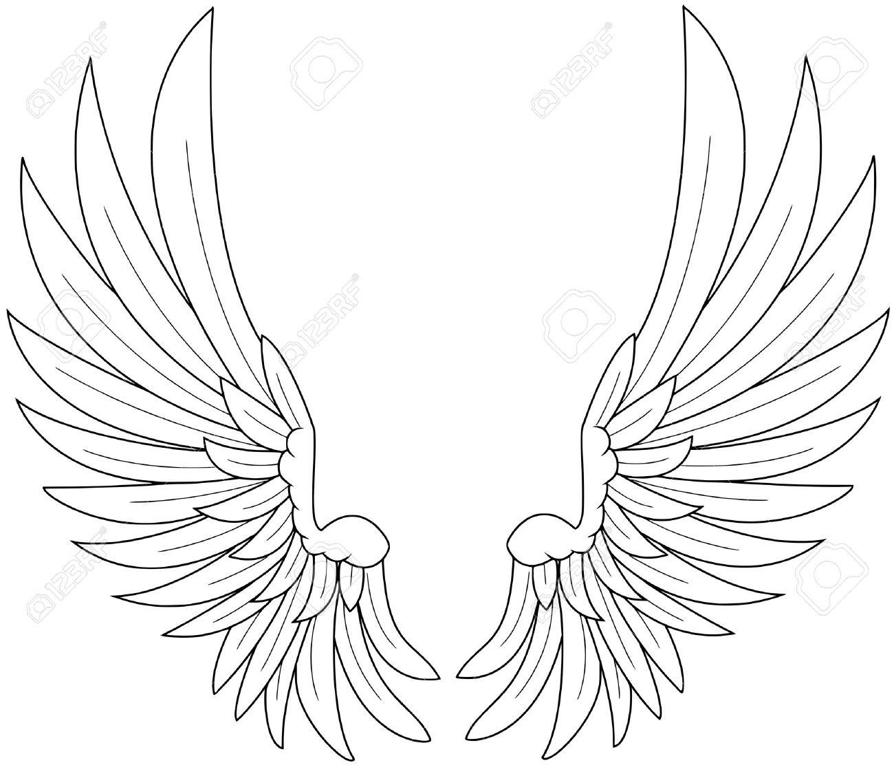 1300x1112 Angel Wings Line Drawing