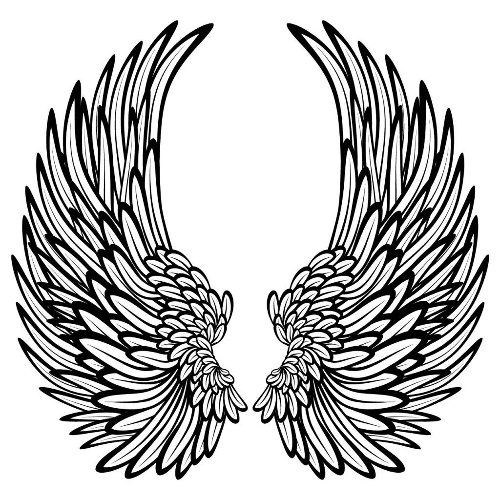 1024x1024 Drawings Of Angel Wings Angel Wings Coloring Pages