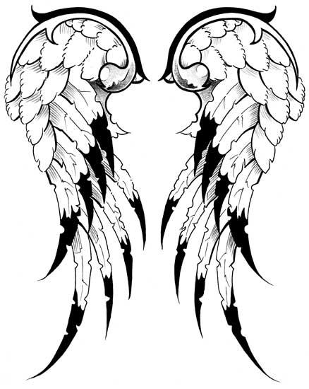438x550 Drawn Tattoo Wing