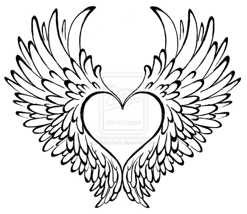 961x832 Pencil Drawings Of Hearts With Wings And Banners Collection