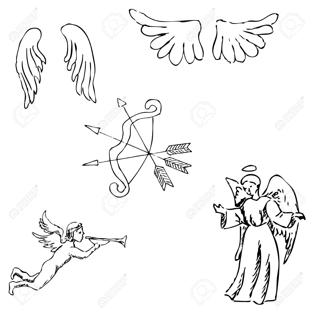 1300x1300 The Angels. Onions And Wings. Pencil Sketch By Hand. Vector Image