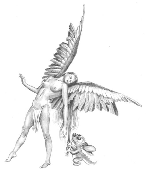 508x624 Angel Of Jungle Fantasy Drawing. Artist Sundar Gallery