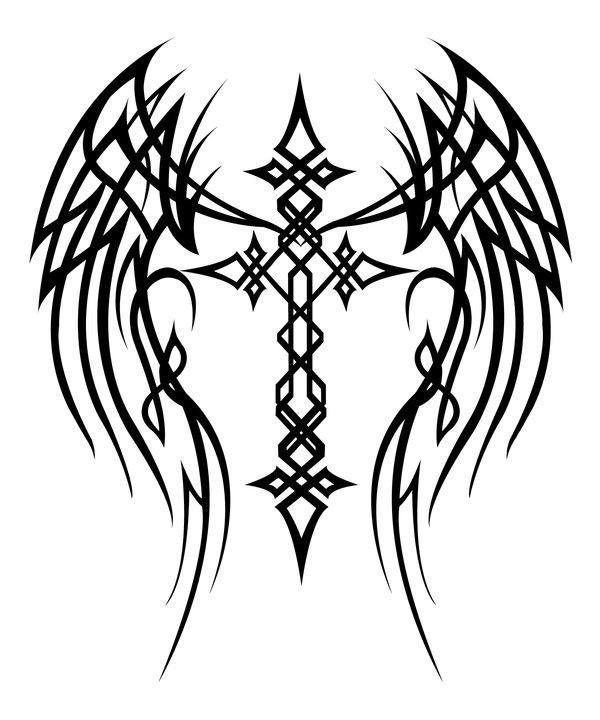 600x720 Cross With Wings Tattoo By Mercedesjk