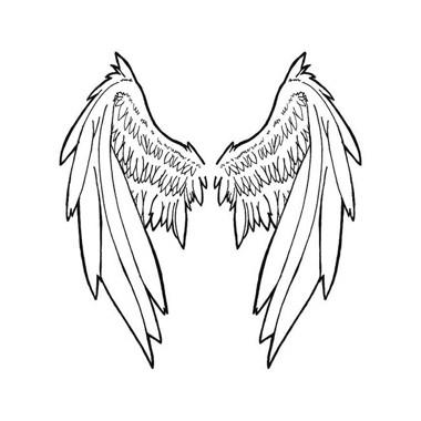 380x380 White Angel Wings Tattoo