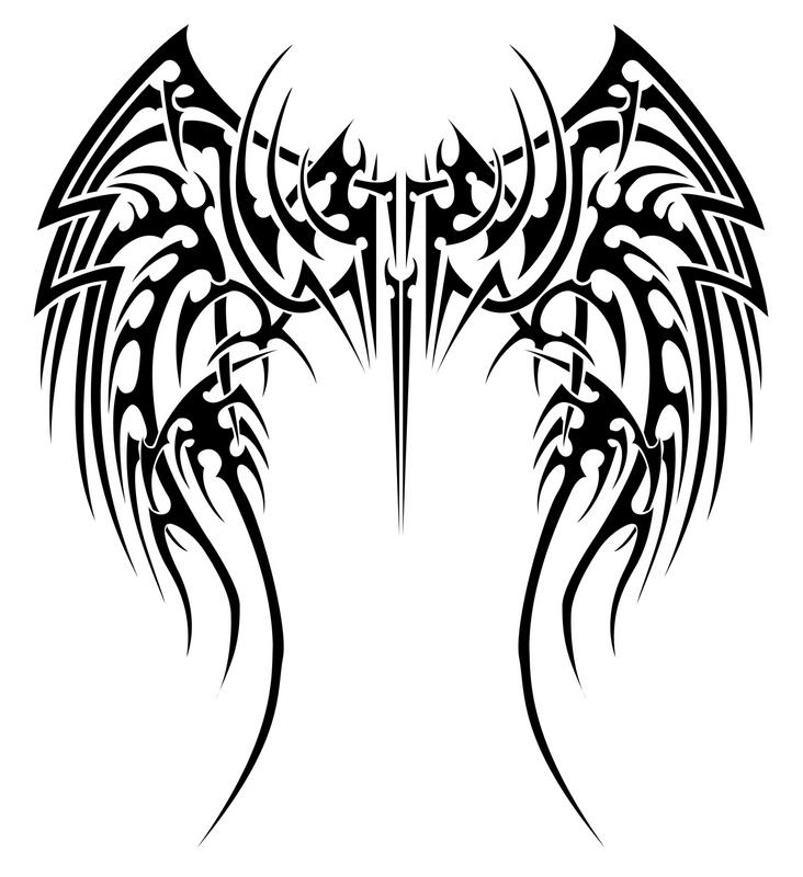 732x800 Angel Wings Tattoo Design