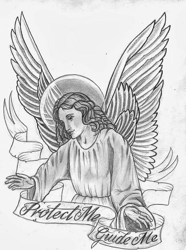 607x816 Collection Of Religious Angel Tattoo Design