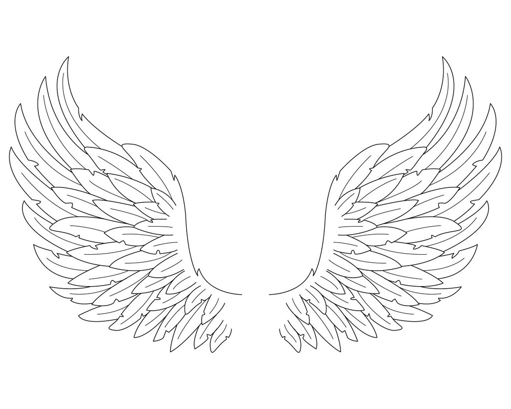1024x819 Easy To Draw Angel Wings Easy Angel Wing Drawings