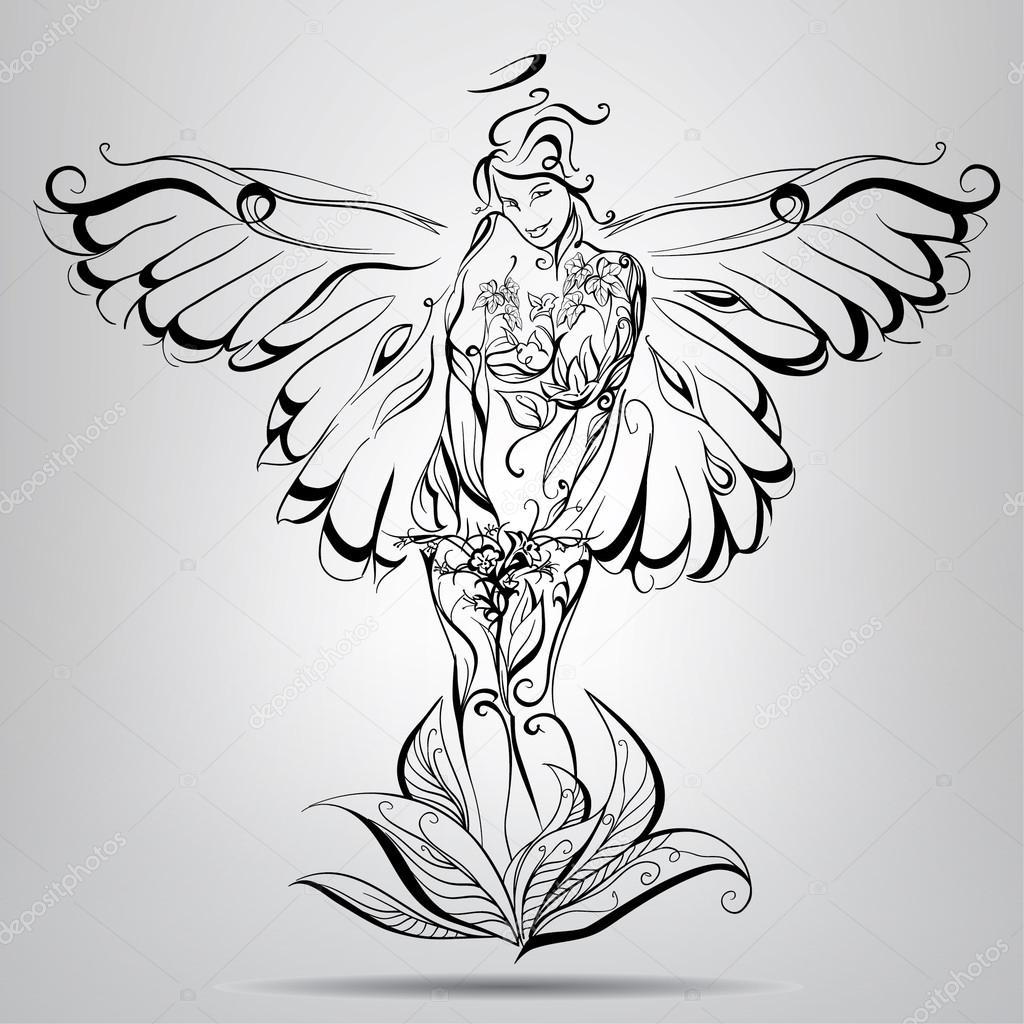 1024x1024 Girl Angel With Wings Stock Vector Nutriaaa
