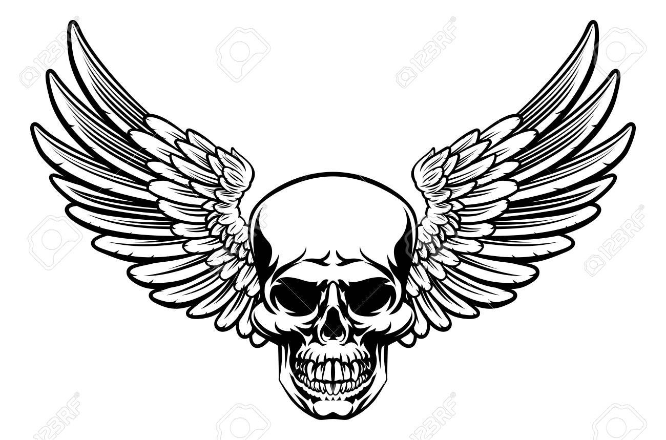1300x859 Grim Reaper Skull With Wings Drawing Royalty Free Cliparts