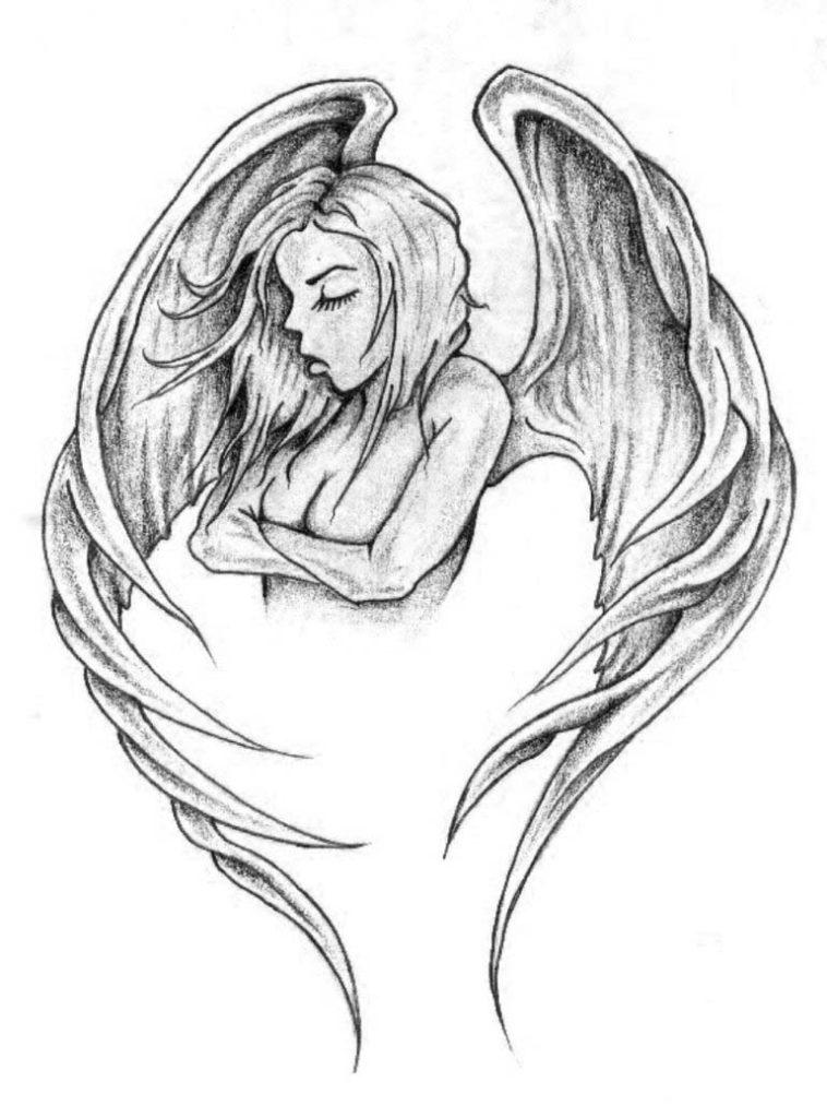758x1024 Angel Tattoo Art Elaxsir