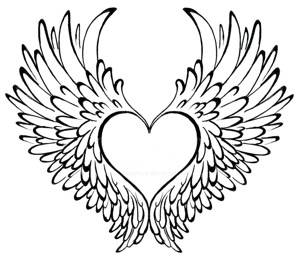 961x832 Coloring Heart With Wings Coloring Pages