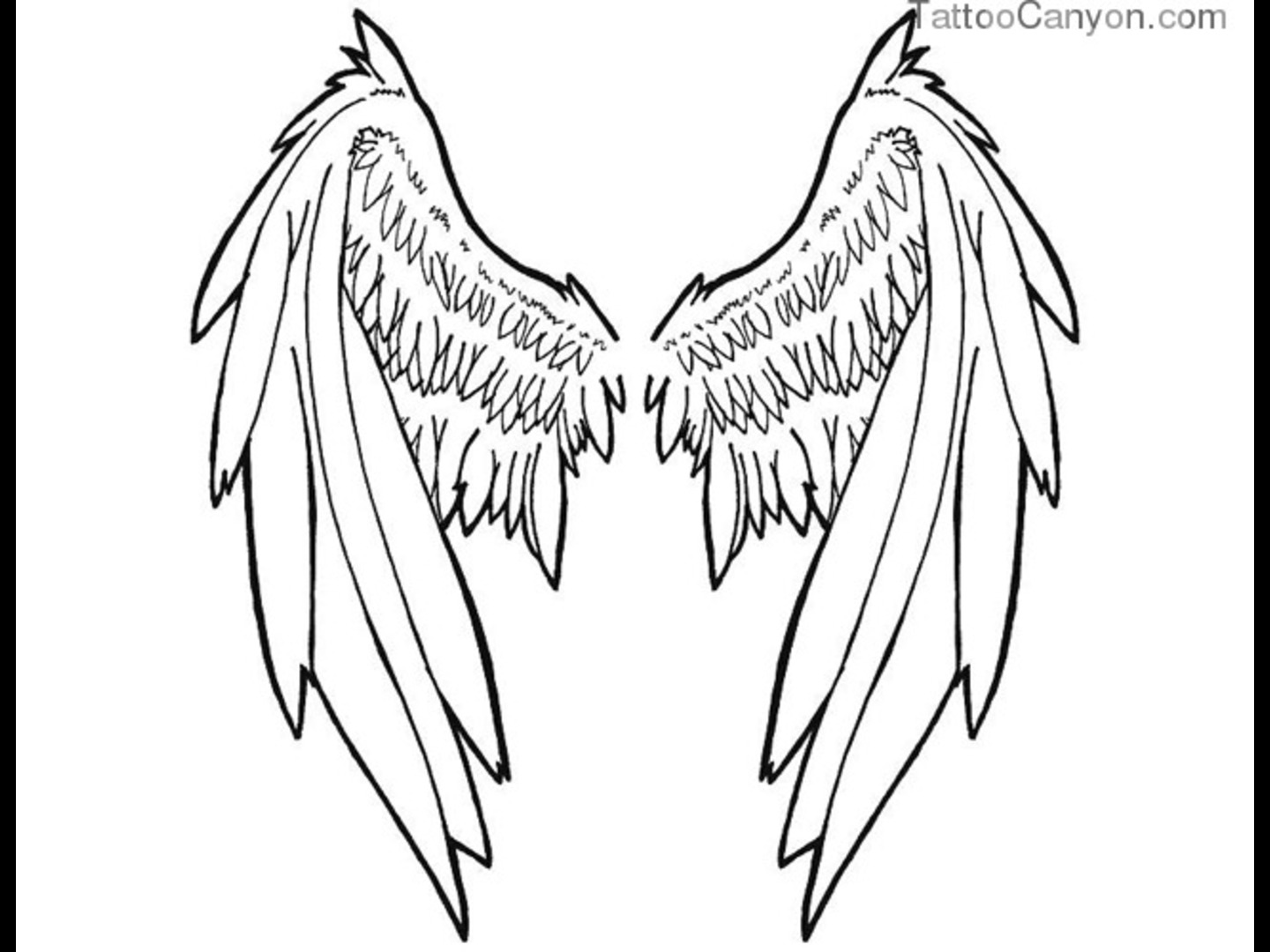 1440x1080 Good And Evil Wings Drawings Large Tribal Angel Wing Tattoo