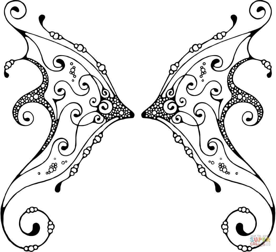 1050x957 Angel Wings Coloring Pages Teens