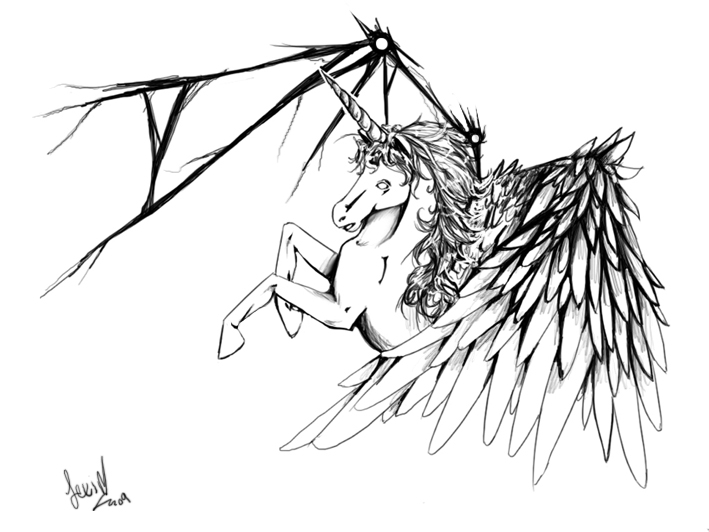 709x532 Unicorn With Angel Wings Tattoo Drawing In 2017 Real Photo