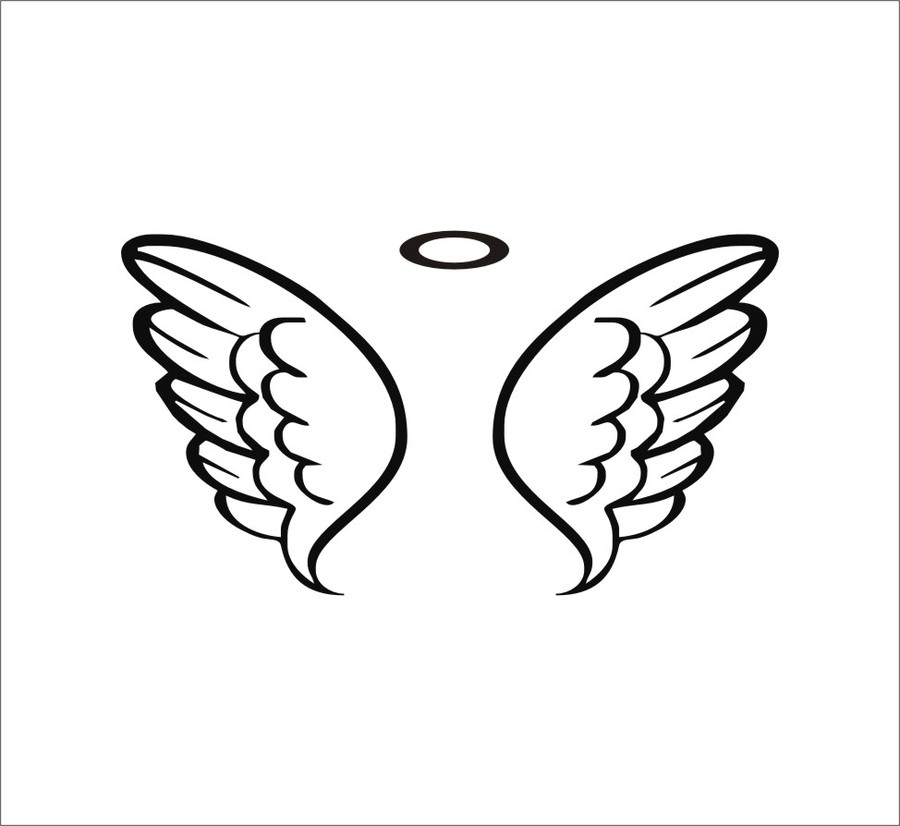 900x826 Baby Angel Wings Drawing