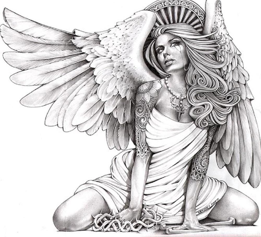 1001x909 Crying Angel By Mouse Lopez Sexy Tattooed Woman Canvas Art Print