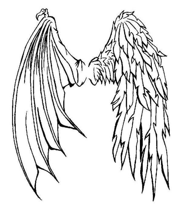 591x700 Half Angel Half Demon Wings Tattoo Wings Demons