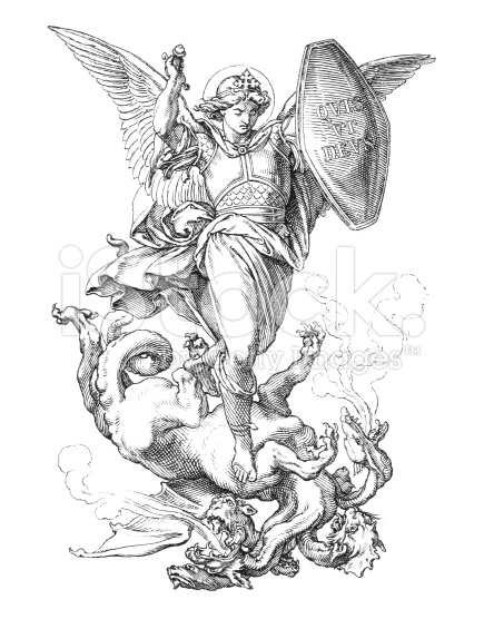 435x556 Stock Illustration 26817645 St Michael The Archangel Fighting