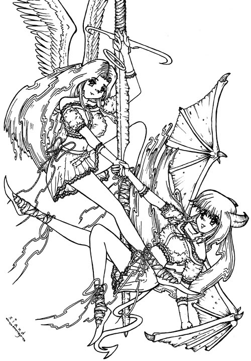 500x717 Angels And Demons Coloring Pages Fallen Angel Coloring Pages