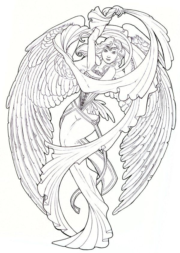 Guardian Angel Tattoo Sketches Angels Drawing at GetD...
