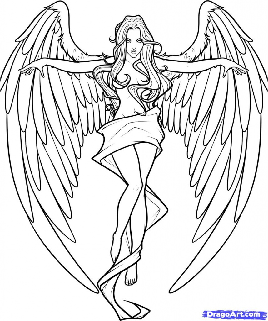 858x1024 Drawings Of Angels How To Draw An Angel Cross Step Step Fantasy