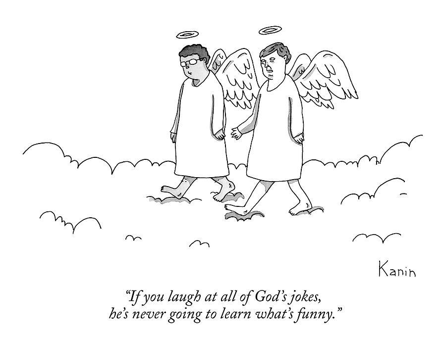 900x691 Two Angels Speak Walking In Heaven Drawing by Zachary Kanin