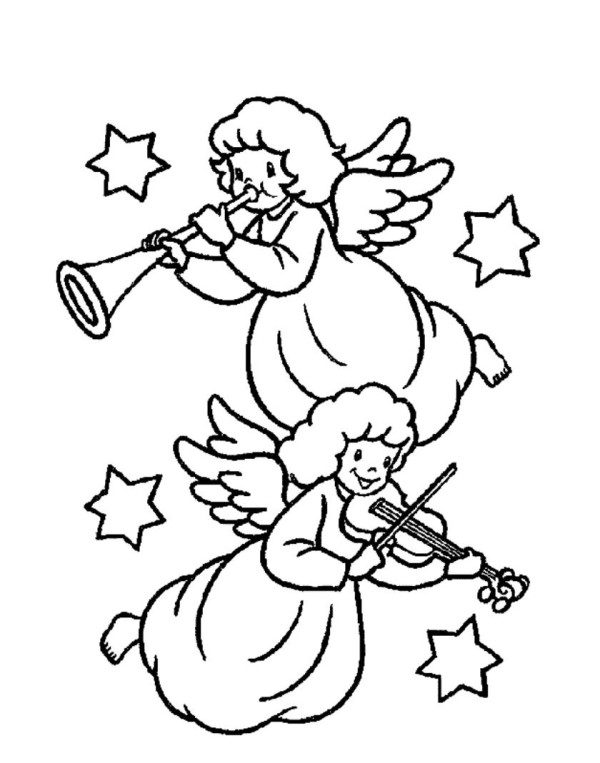 600x763 Two Christmas Angels Playing Music Coloring Pages