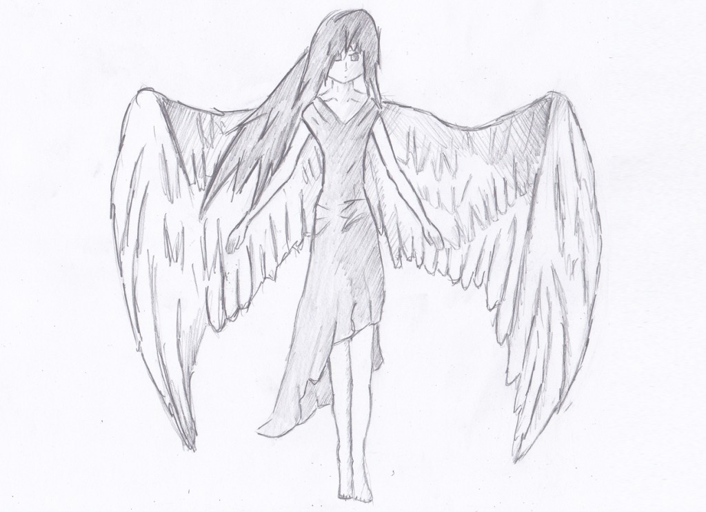 1024x743 angel drawing easy 3D Drawing
