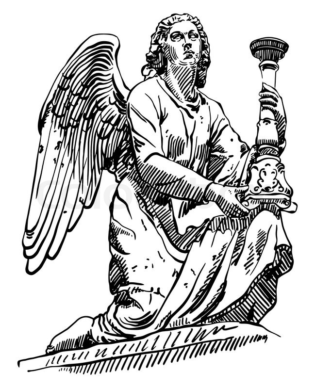 649x800 Black and white sketch drawing of marble statue angel from Rome