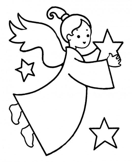 520x636 Online Christmas Coloring Book Printables Angel, Christmas