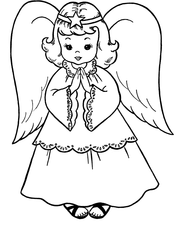 612x790 Pictures Christmas Angel Coloring For Kids